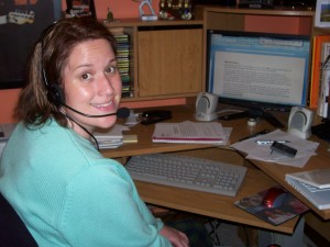 Me, working at the computer in my snazzy new headset!