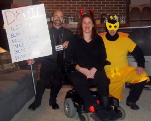 Decked out for a Halloween tradition, The Rocky Horror Picture Show, Dan, me and my brother Steve.