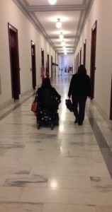 Jennifer and National Multiple Sclerosis Society, Michigan Chapter staff member Liz Trapp on the way to their next appointment in the House.