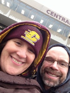 We often brave the elements for CMU home games, like in the 2015 Homecoming game. We made it through the first quarter, but as we learned a few years ago, the steady rain and an electric wheelchair aren't a combo to mess with.